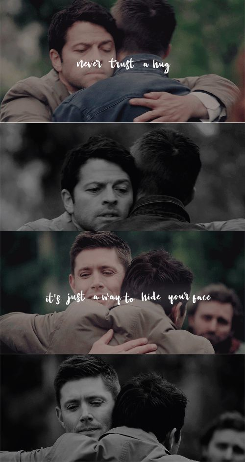 Never trust a hug it's just a way to hide your face #spn #DoctorWho