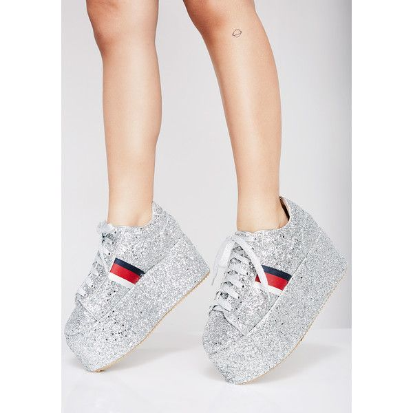 Glitter Silver Platform Sneakers ($55) ❤ liked on Polyvore featuring shoes, sneakers, silver, silver trainers, silver glitter sneakers, platform trainers, laced up shoes and silver shoes