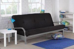 metal futon with armrest black
