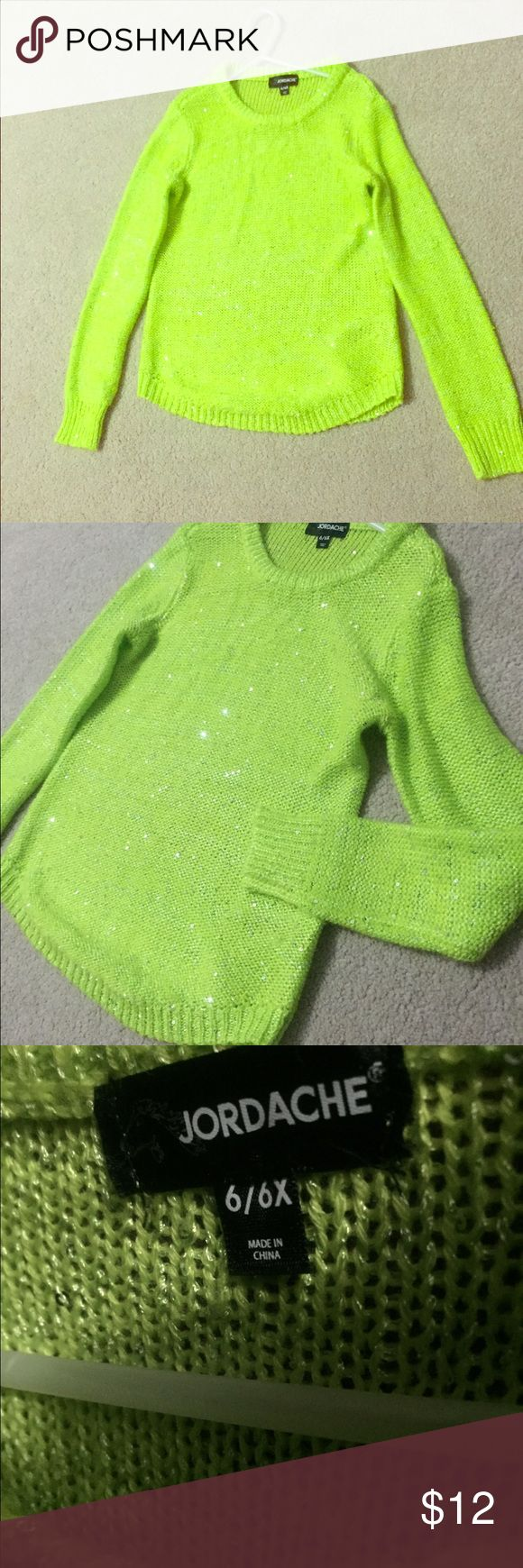 NWOT Hi low lime green w/ sequins girls Sweater New never worn girls sweater - super cute Shirts & Tops Sweaters