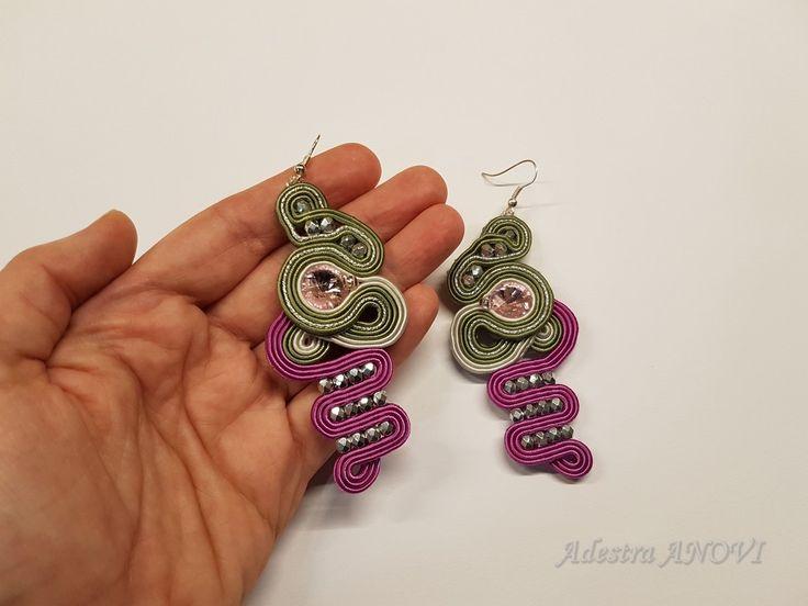 Soutache Earrings, Dangle Soutache Earrings, Green Purple Soutache Jewelry by AdestraANOVIDesign on Etsy