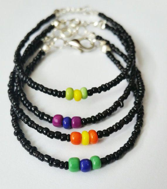 Beaded bracelet Seed beads bracelet Black bracelet by CatiShop
