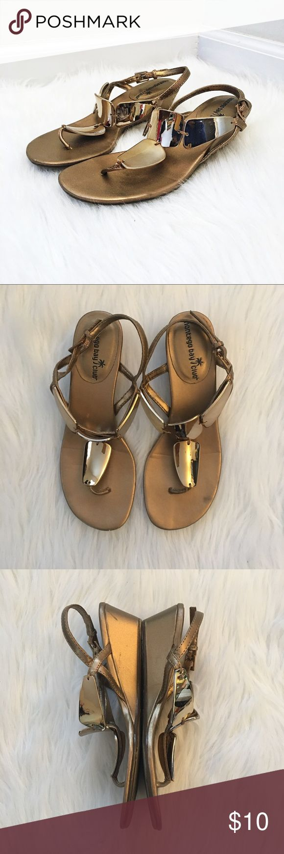 montego bay club small heeled mirror sandals In great condition. Only worn twice. Has been cleaned and disinfected.  Adorable and unique sandals with four mirrored panels and a small heel. Perfect for any warm weather.  Heels: 2 inches   Open to offers. Bundle and save on shipping! Montego Bay Club Shoes Sandals & Flip Flops
