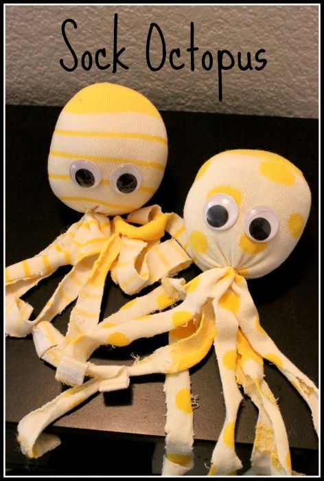 I saw these cute little guys in a magazine and they looked so easy to make. I figured the kids would enjoy them, or they would make a cute gift for a small http://www.discountqueens.com/sock-octopus/