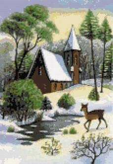 Winter scene with a deer cross stitch kit or pattern | Yiotas XStitch
