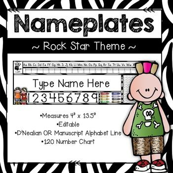 "These EDITABLE Rock Star Zebra themed nameplates {legal paper size) will add some pizzazz to your classroom! You will be able to use these nameplates over and over again!! This unit includes 13 different ""Rock Star Zebra"" themed nameplates. Nameplates include: **alphabet line (D'Nealian Font and Regular"