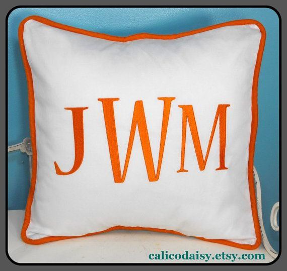 Large Font Monogrammed Pillow Cover  16 x 16 square by calicodaisy, $38.00