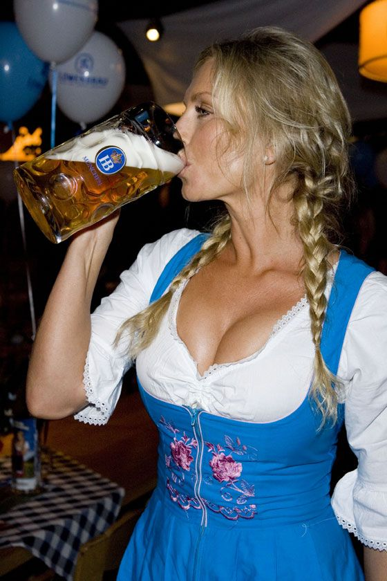 Oktoberfest drinking. German girls.....my favourite...