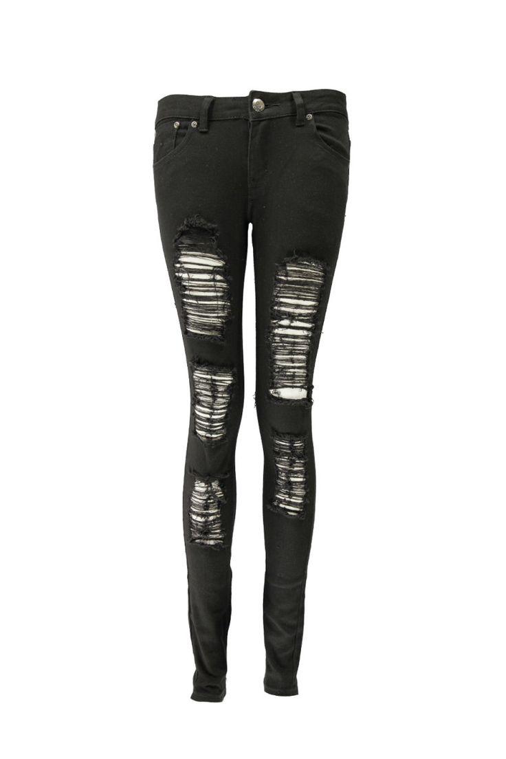 Slim Fit Black Ripped Skinny Jeans