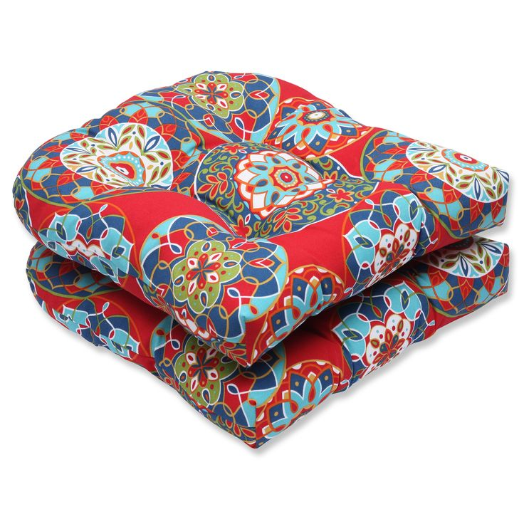 Inspired by vibrant Southwestern patterns and robust color palates, this bold set of two seat cushions will ignite the fire in your home style. We love the array of colors that dance comfortably on this well-crafted accent.