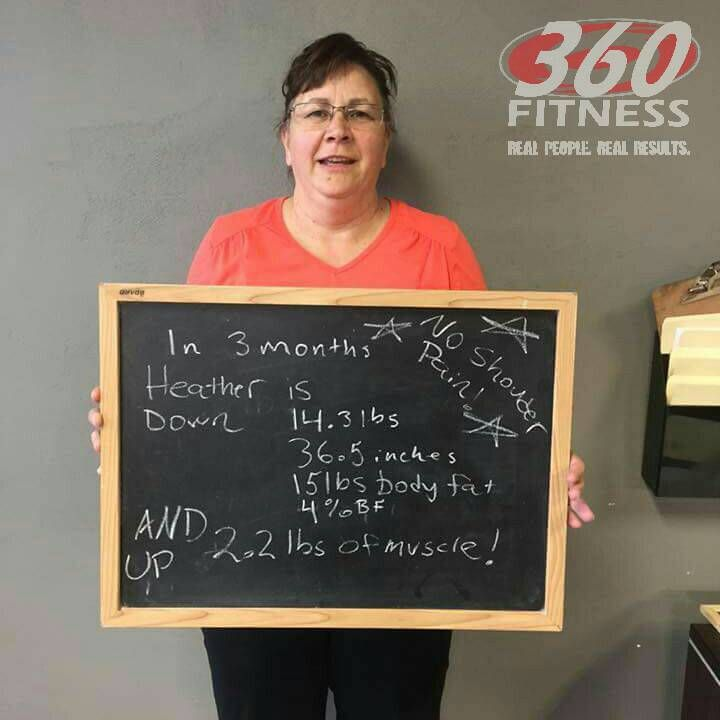 """Proud day for Heather H! In 90 days, lost 15lbs, 36"""", 4% body fat, gained muscle + reduced shoulder pain. Win Win!"""