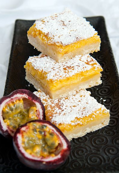 passion fruit bars recipe | use real butter (I think I overbeat the eggs too...took longer to bake to set the filling.)