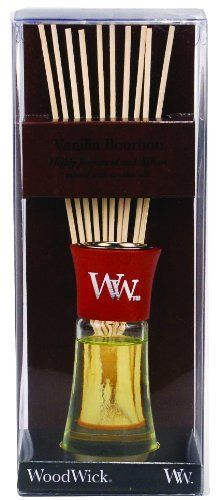 WoodWick Vanilla Bourbon Mini Reed Diffuser by WoodWick. $10.99. WoodWick Reed diffusers feature highly concentrated fragrances infused with essential oils.. Fragrance without the flame!. Enjoy the sweet and smoky notes of rich bourbon with the soft familiar scents of vanilla, pralines, and sugar cane.