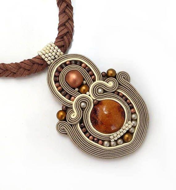 Beauty gift Beige ochre boho necklace soutache OOAK statement