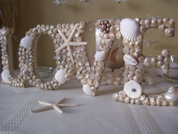 Seashell Love Sign Beach Themed Wedding Decor by justbeachydecor