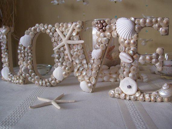 Seashell Love Sign Beach Themed Wedding Decor by justbeachydecor, $49.99