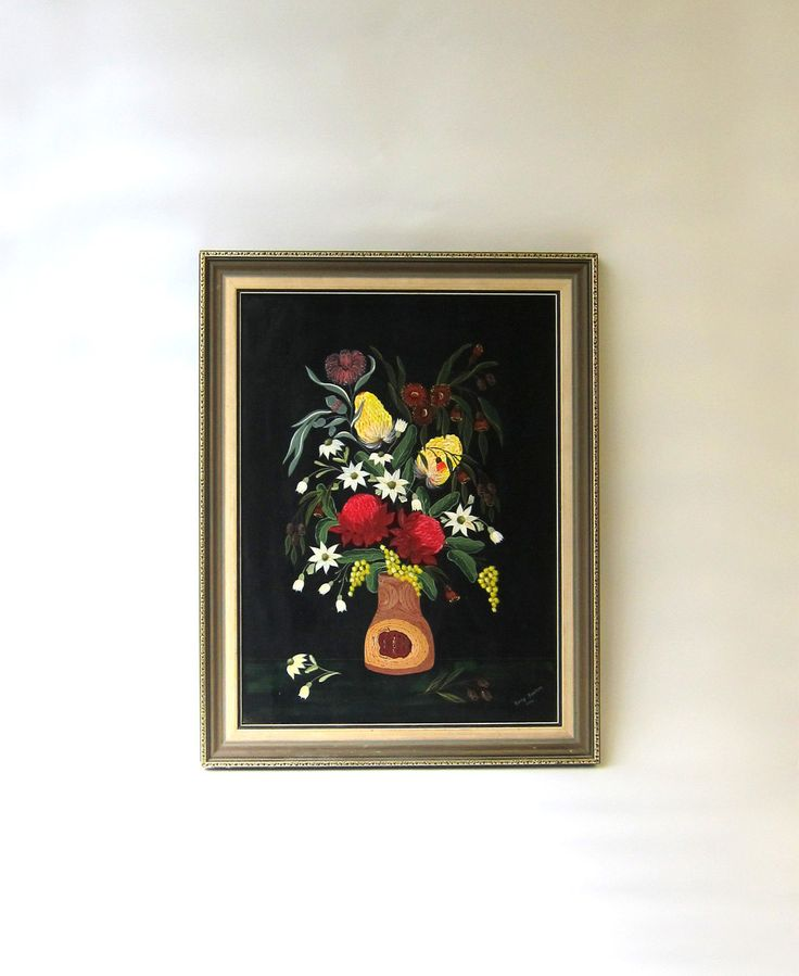 Original still life folk art painting of Australian wildflowers - pinned by pin4etsy.com