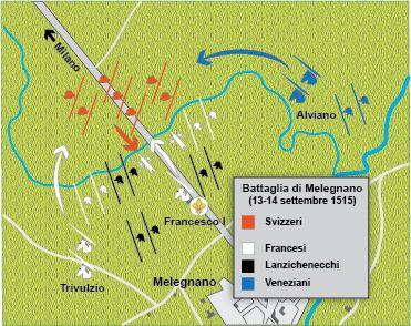 13 Settembre 1515: battaglia di Melegnano; l'esercito di Francesco I si scontrò con l'esercito svizzero. La vittoria del monarca francese garantì alla Francia il controllo del ducato di Milano.