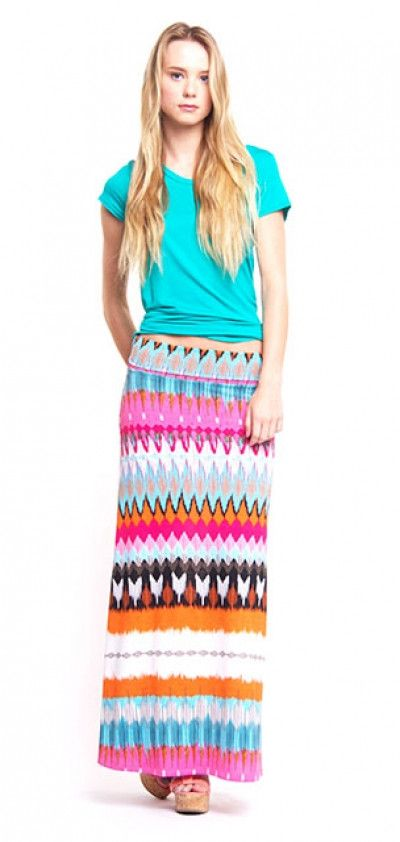 Bright Tribal Maxi Skirt
