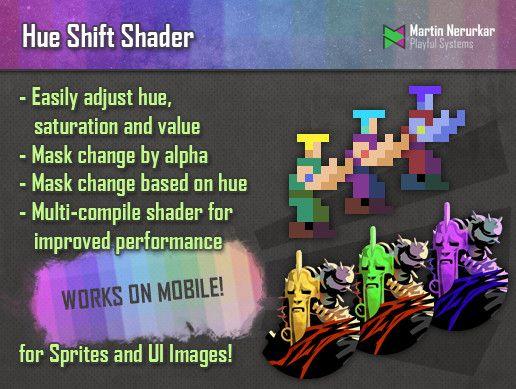 Color Shift shader (Hue, Saturation, Value) for Sprites & UI Unity
