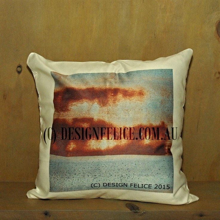 DESIGN FELICE's Photo Cushions are original designs and photography by DESIGN FELICE in Country NSW.  These cushions are printed in Rural Australia on glossy 100% polyester fabric.  (Care Instructions for Cover – Gentle Machine Wash.) The 'Corrugated Rust' Photo Cushion is a square 40 cm Cushion (white reverse side) including a Cushion Insert, which the Manufacturer advises is Australian Made, Washable and Non-Allergenic. (C) DESIGN FELICE www.designfelice.com.au