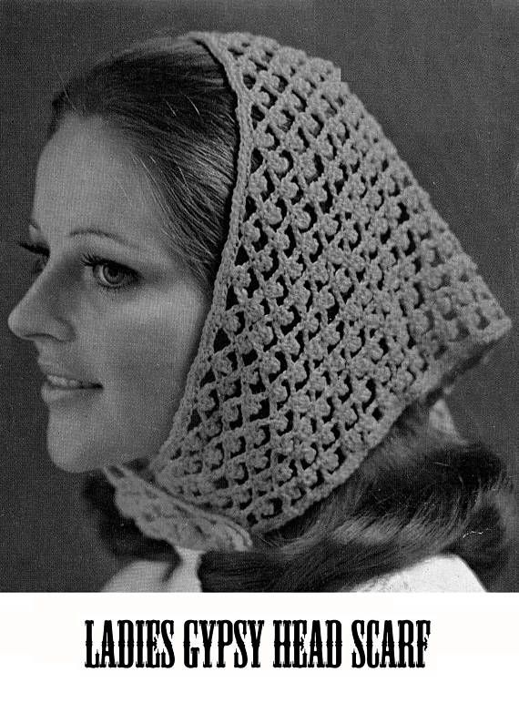 PDF Vintage Womens Ladies Gypsy Head Scarf Crochet Pattern