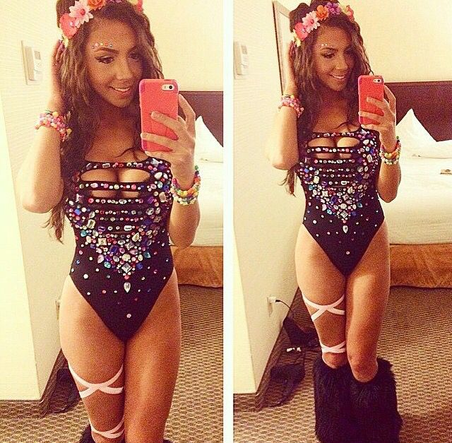 DIY bodysuit with flower crown for EDC, Burning Man or any festival you are attending this year! Some #Blinkies would be perfect for her flower crown!