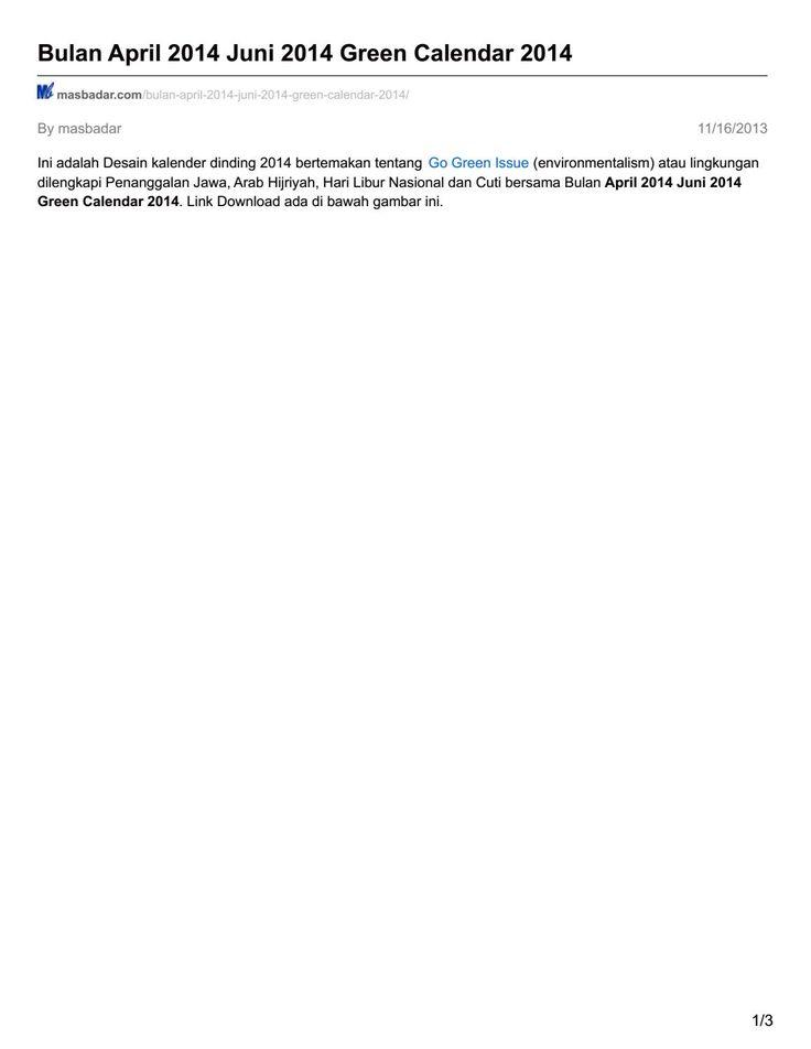 Masbadar com bulan april 2014 juni 2014 green calendar 2014