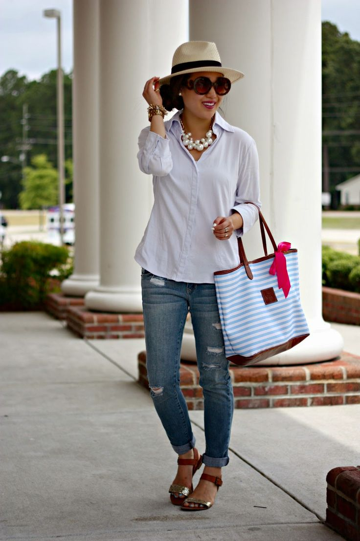 { summer casual: panama hat + loose button-down + boyf. jeans }