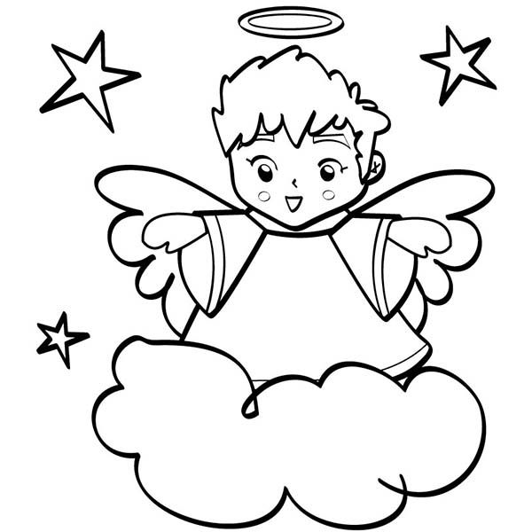 Angels, : Cute Angels Boy wiht Halo Coloring Page | Angel ...