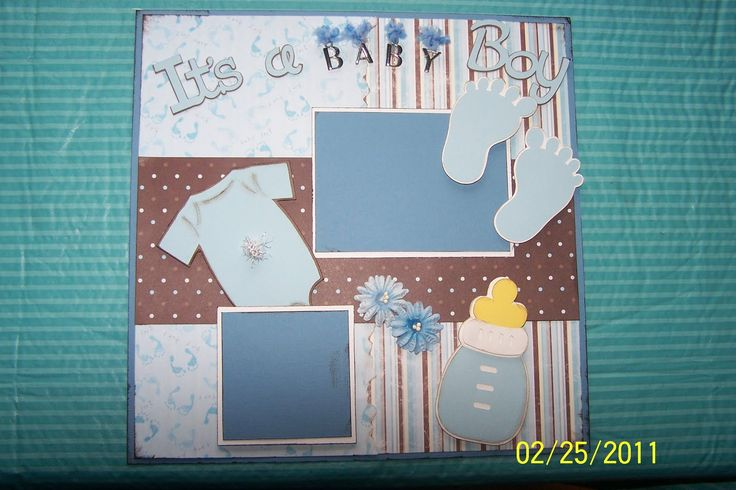 "baby boy scrapbook page ideas | ... Designs: ""It's a Baby Boy"" 12x12 Scrapbook Page Layout using Cricut"