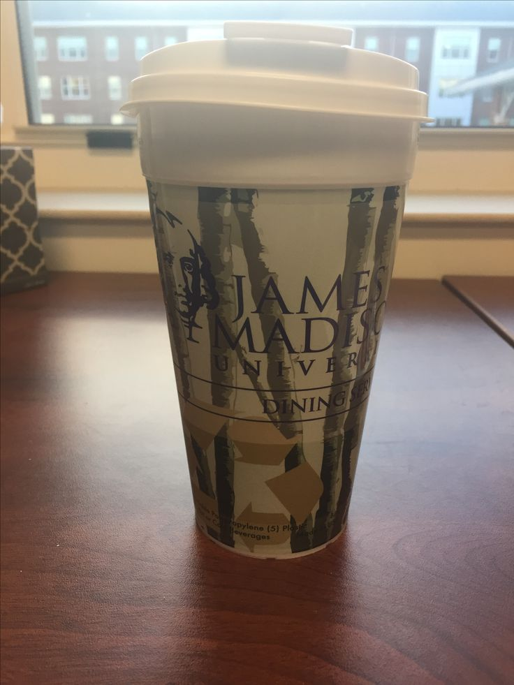 This is a free cup from JMU Dining Services. Its main issue is legibility. This commits the sin of busy backgrounds. The background picture of trees is decent, but makes the information and fonts difficult to read. With design, form follows function, which this cup fails to do.