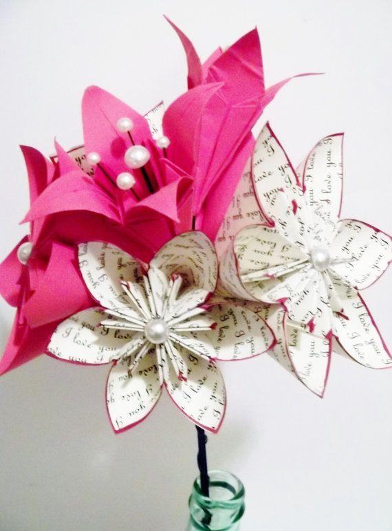 Fleurs en papier Lily mariage Bouquet  9 par DanasPaperFlowers, $45.00