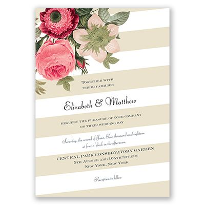 Vintage Botanical - Champagne - Wedding Invitation - Floral, Stripes at Invitations By David's Bridal