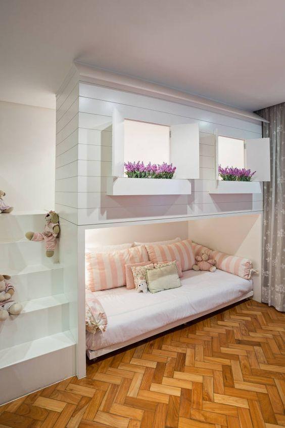 This is a little girls DREAM come true! #Inspiration #bunkbeds #shiplap #Kidsroom #basement #customcarpentry #greenbasementsandremodeling