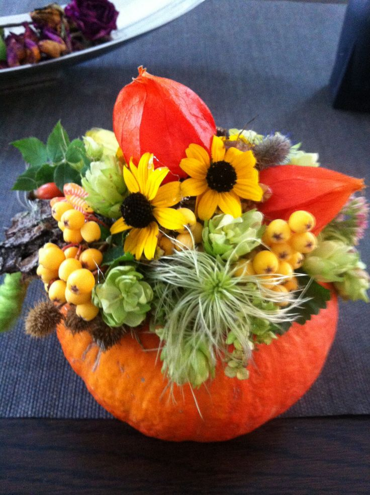 Pumpkin decorated with garden flowers Flower painted pumpkins
