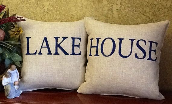 LAKE HOUSE Stenciled Burlap Pillow