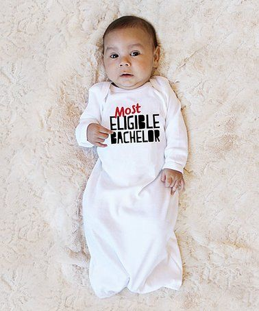 $15.99 marked down from $30! White 'Most Eligible Bachelor' Gown - Infant #zulily #zulilyfinds #baby #bachelor #thebachelor #valentinesday #arie
