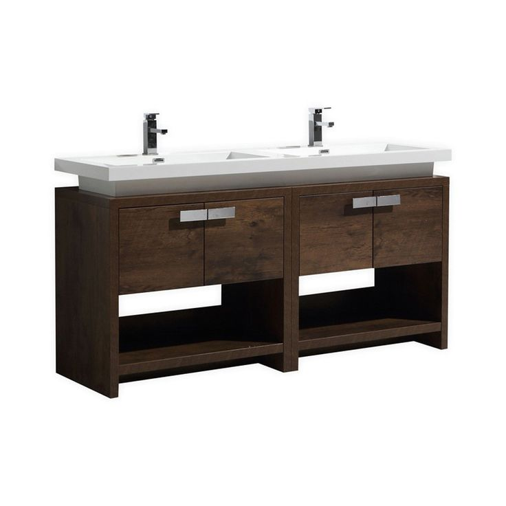 "Kubebath Levi 60"" Double Sink Rose Wood Modern Bathroom Vanity with Cubby Hole"