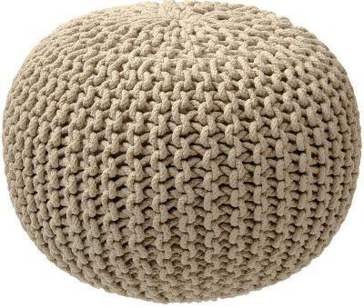 Pískově hnědý pletený puf ZicZac