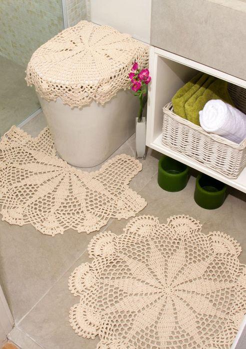Set De Juego De Baño:Delicado juego de baño en crochet: Games, Bathroom Crochet, Set