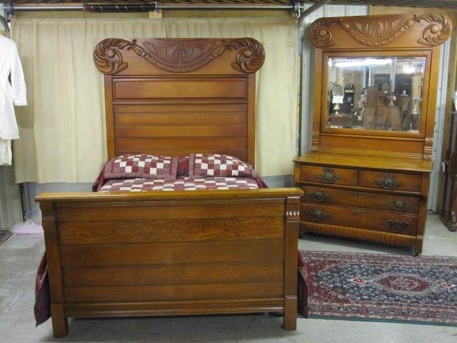 Antique High Back Bed Amp Dresser W Massive Oak Crown
