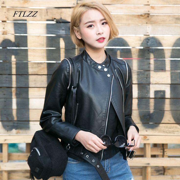 >> Click to Buy << Ftlzz Black Faux Leather Jacket Women Spring Autumn New Vintage Short Slim Biker Jacket Fashion Female Leather Jacket #Affiliate