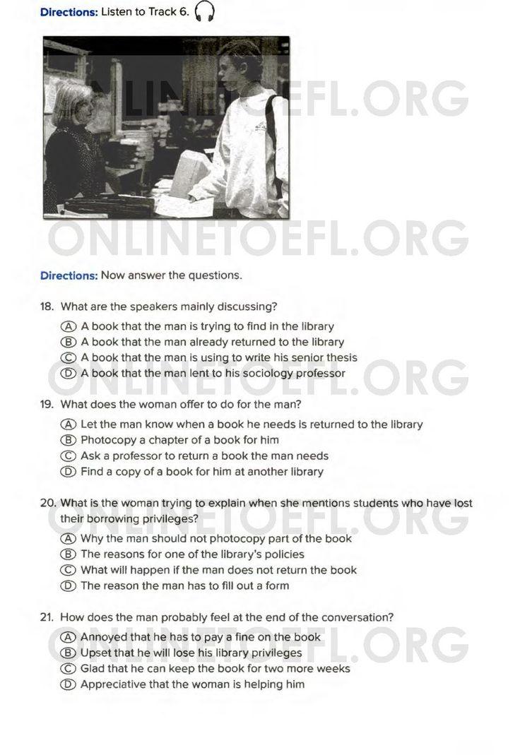 Aşağıda TOEFL sınavı online hazırlık kursu uzmanı Dr. Hikmet Şahiner ile TOEFL hazırlık kursu online deneme listening test soruları test 3 listening part 2 soruları bulunmaktadır.