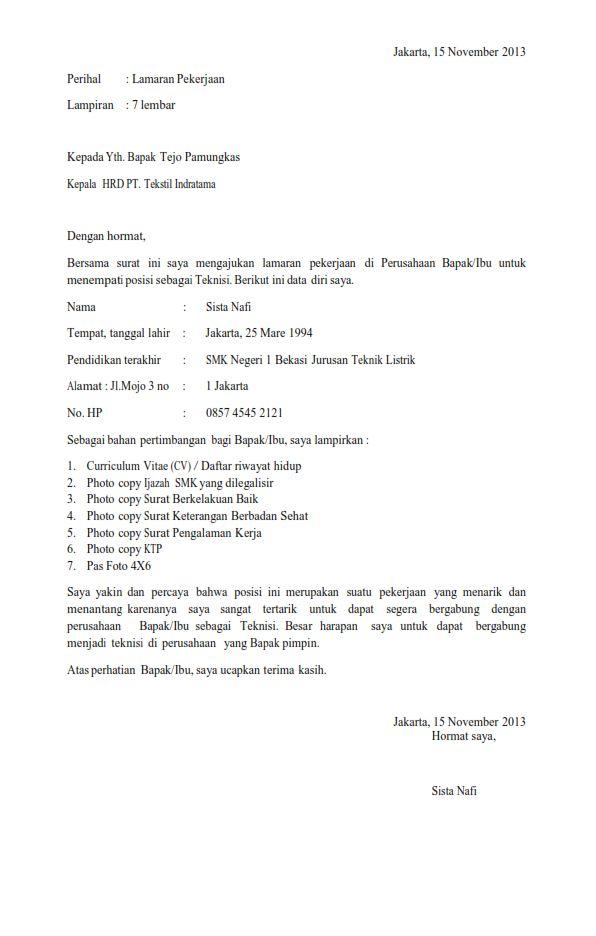 surat lamaran kerja lulusan snk