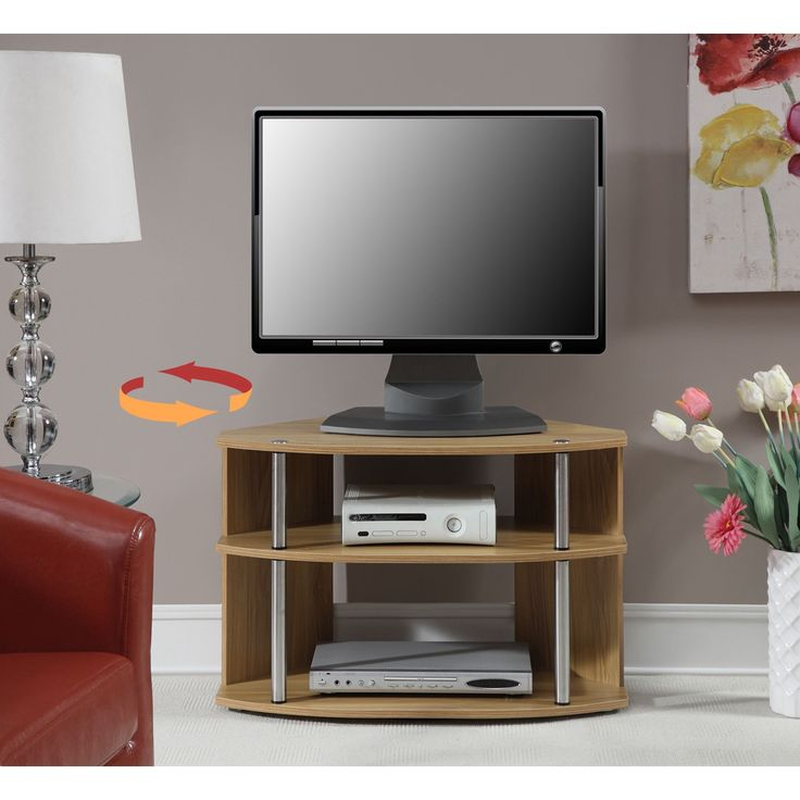 Convenience Concepts Designs2Go Swivel TV Stand (Light Oak), Brown