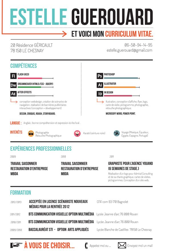 curriculum vitae by estelle guerouard  via behance