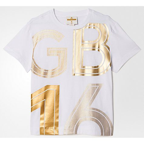 Buy Adidas Stella McCartney Team GB Women's T-Shirt, White/Gold Online at…
