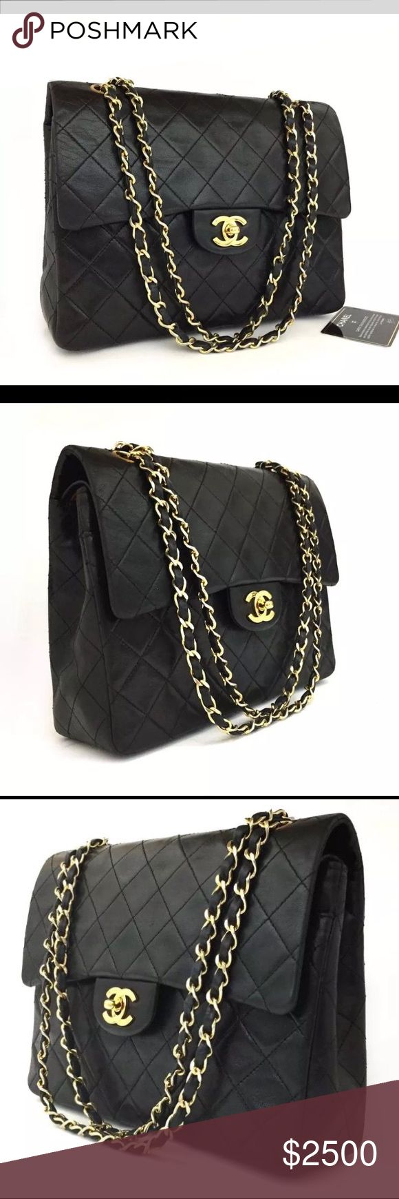 CHANEL Double Flap 25 Quilted CC Logo Lambskin Pre-owned CHANEL Double Flap 25 Quilted CC Logo Lambskin w/chain Shoulder Bag Black. The over all is in good condition and used normally. Negligible signs of use. The item is sold in AS IS condition. Serial number / Date Code: 591588. It includes card of authentication. Dust bag is not included. CHANEL Bags Shoulder Bags