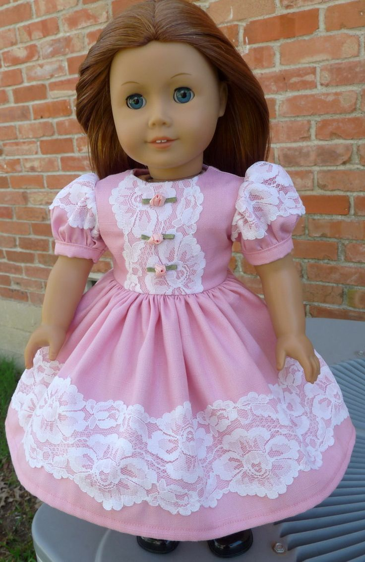 "18"" Doll Clothes Pink Spring / Easter Party Dress Fits American Girl Molly, Emily, Kit"